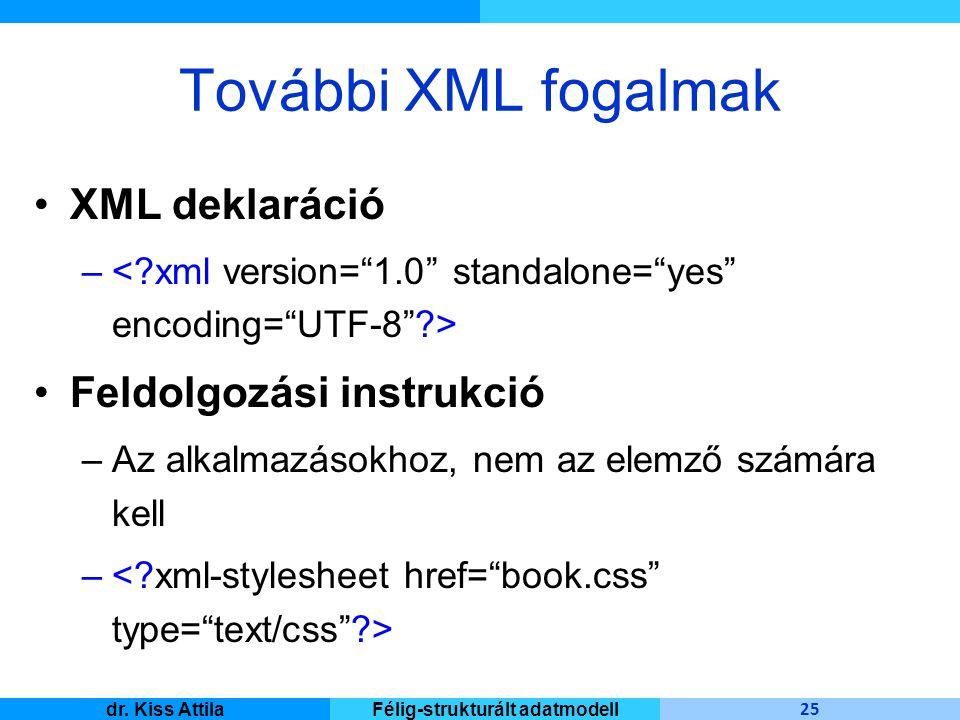 Master Informatique 25 dr. Kiss AttilaFélig-strukturált adatmodell További XML fogalmak XML deklaráció – Feldolgozási instrukció –Az alkalmazásokhoz,