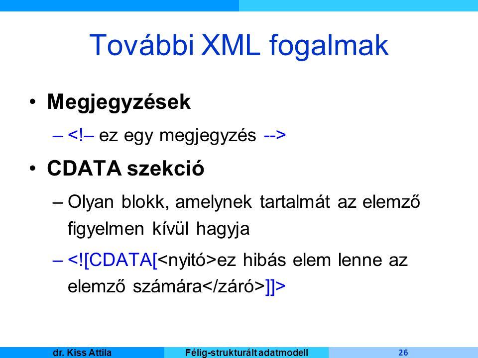 Master Informatique 26 dr. Kiss AttilaFélig-strukturált adatmodell További XML fogalmak Megjegyzések – CDATA szekció –Olyan blokk, amelynek tartalmát