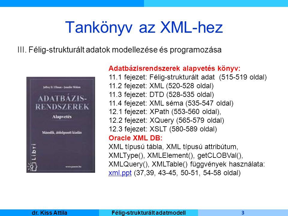 Master Informatique 3 dr. Kiss AttilaFélig-strukturált adatmodell Tankönyv az XML-hez III. Félig-strukturált adatok modellezése és programozása Adatbá