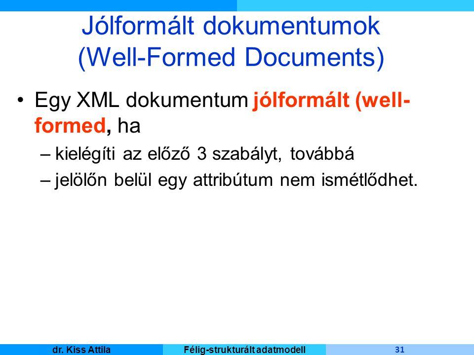 Master Informatique 31 dr. Kiss AttilaFélig-strukturált adatmodell Jólformált dokumentumok (Well-Formed Documents) Egy XML dokumentum jólformált (well
