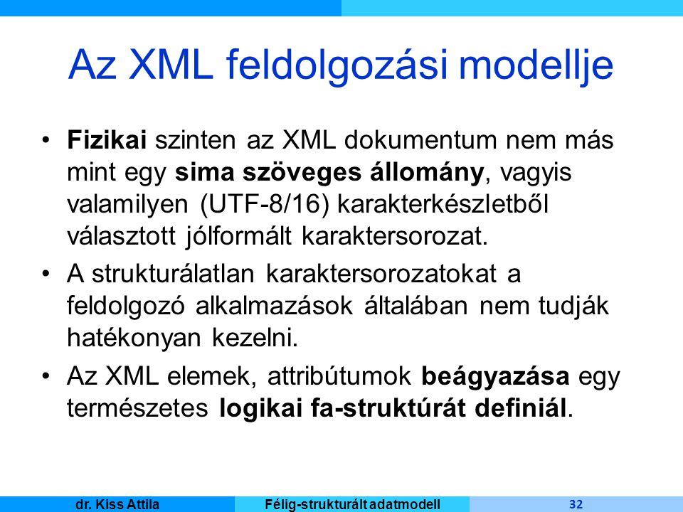 Master Informatique 32 dr. Kiss AttilaFélig-strukturált adatmodell Az XML feldolgozási modellje Fizikai szinten az XML dokumentum nem más mint egy sim