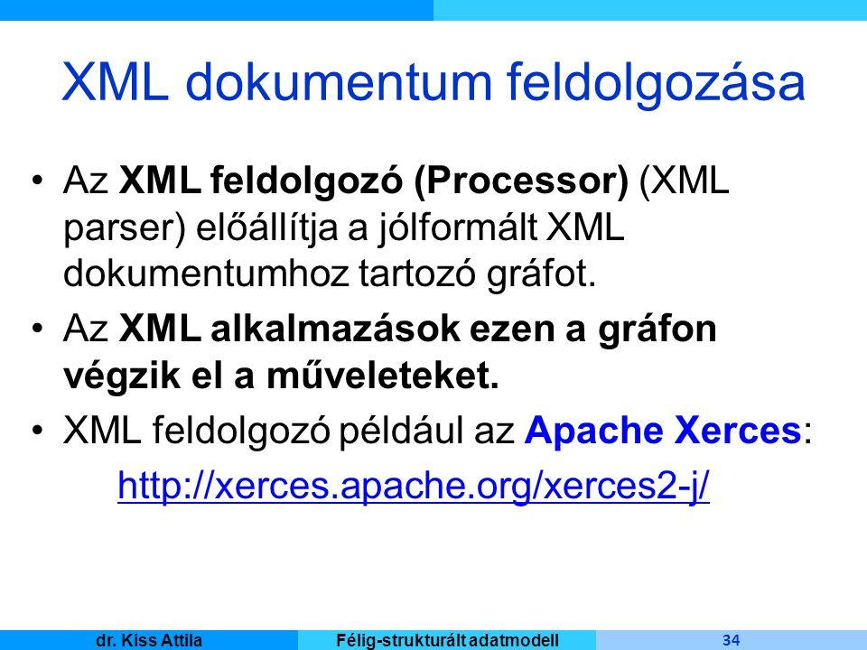 Master Informatique 34 dr. Kiss AttilaFélig-strukturált adatmodell XML dokumentum feldolgozása Az XML feldolgozó (Processor) (XML parser) előállítja a