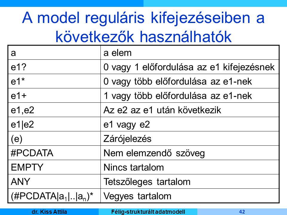 Master Informatique 42 dr. Kiss AttilaFélig-strukturált adatmodell aa elem e1?0 vagy 1 előfordulása az e1 kifejezésnek e1*0 vagy több előfordulása az