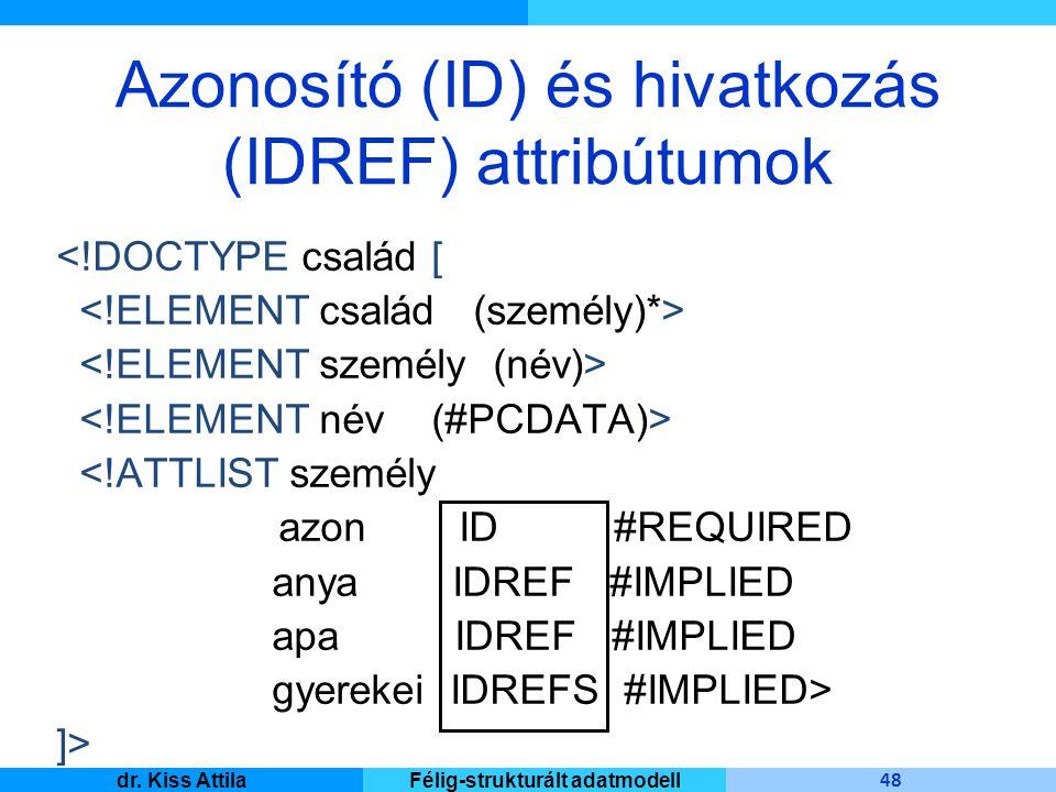 Master Informatique 48 dr. Kiss AttilaFélig-strukturált adatmodell Azonosító (ID) és hivatkozás (IDREF) attribútumok <!DOCTYPE család [ <!ATTLIST szem