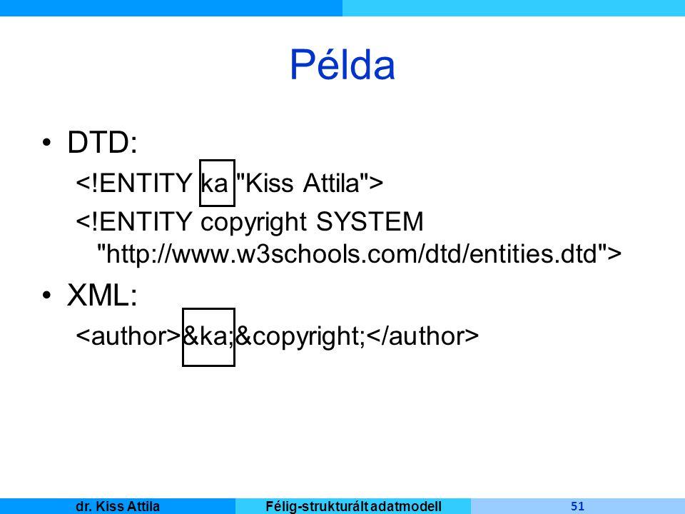 Master Informatique 51 dr. Kiss AttilaFélig-strukturált adatmodell Példa DTD: XML: &ka;&copyright;