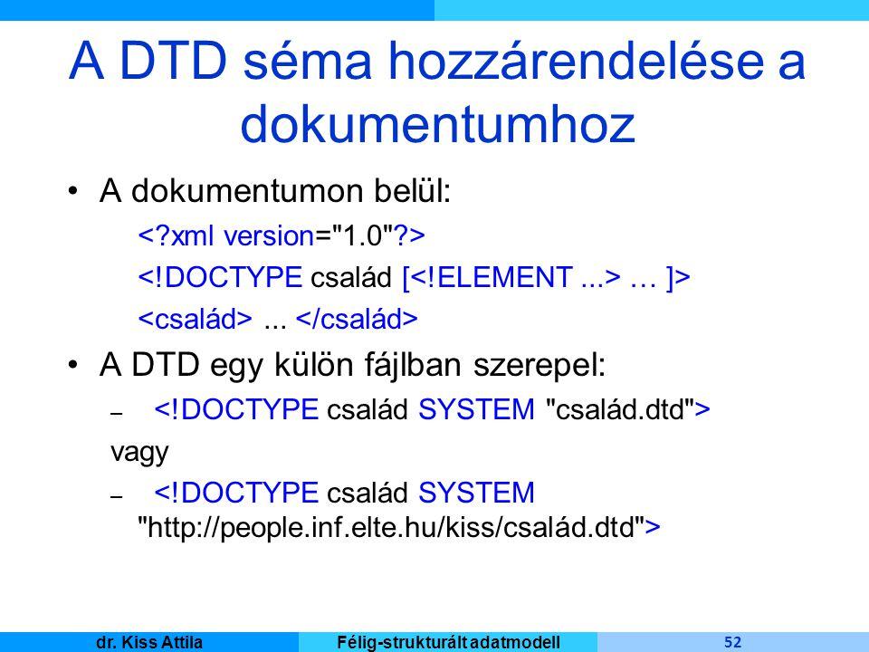 Master Informatique 52 dr. Kiss AttilaFélig-strukturált adatmodell A DTD séma hozzárendelése a dokumentumhoz A dokumentumon belül: … ]>... A DTD egy k