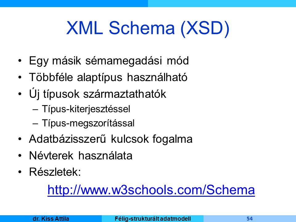Master Informatique 54 dr. Kiss AttilaFélig-strukturált adatmodell XML Schema (XSD) Egy másik sémamegadási mód Többféle alaptípus használható Új típus