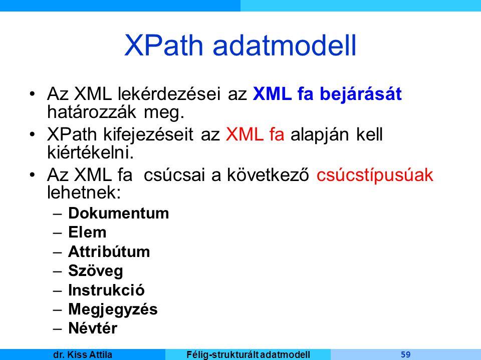 Master Informatique 59 dr. Kiss AttilaFélig-strukturált adatmodell XPath adatmodell Az XML lekérdezései az XML fa bejárását határozzák meg. XPath kife