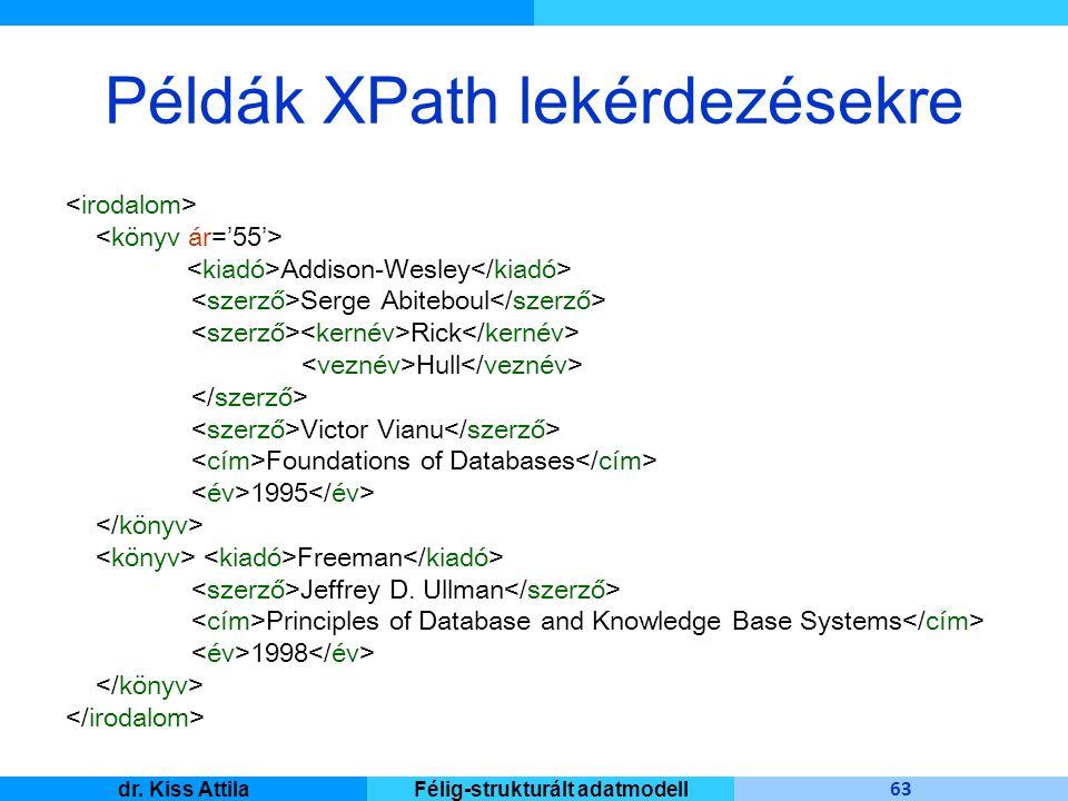 Master Informatique 63 dr. Kiss AttilaFélig-strukturált adatmodell Példák XPath lekérdezésekre Addison-Wesley Serge Abiteboul Rick Hull Victor Vianu F