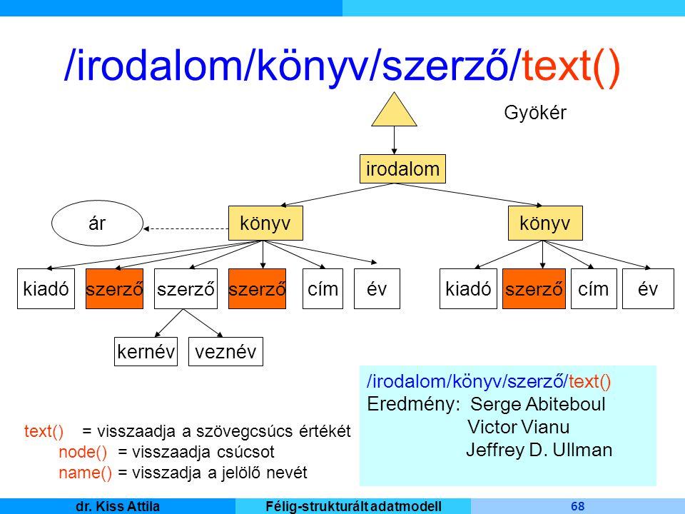 Master Informatique 68 dr. Kiss AttilaFélig-strukturált adatmodell /irodalom/könyv/szerző/text() irodalom Gyökér könyv kiadó szerző ár cím év veznévke