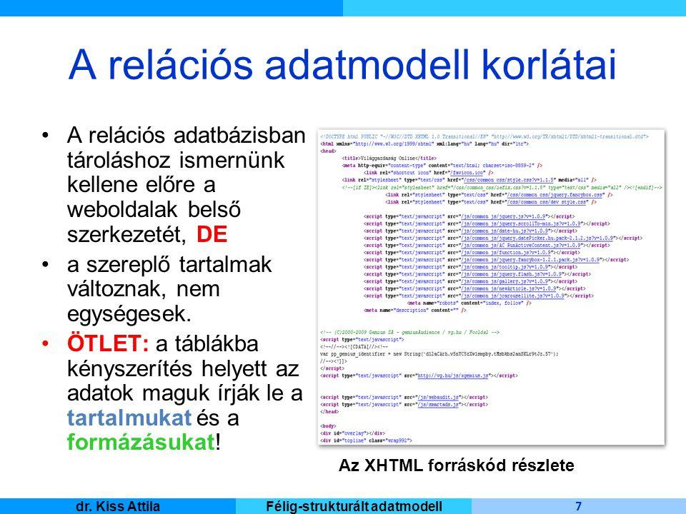 Master Informatique 7 dr. Kiss AttilaFélig-strukturált adatmodell A relációs adatmodell korlátai A relációs adatbázisban tároláshoz ismernünk kellene