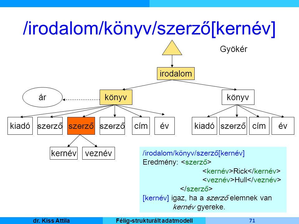Master Informatique 71 dr. Kiss AttilaFélig-strukturált adatmodell /irodalom/könyv/szerző[kernév] irodalom Gyökér könyv kiadó szerző ár cím év veznévk