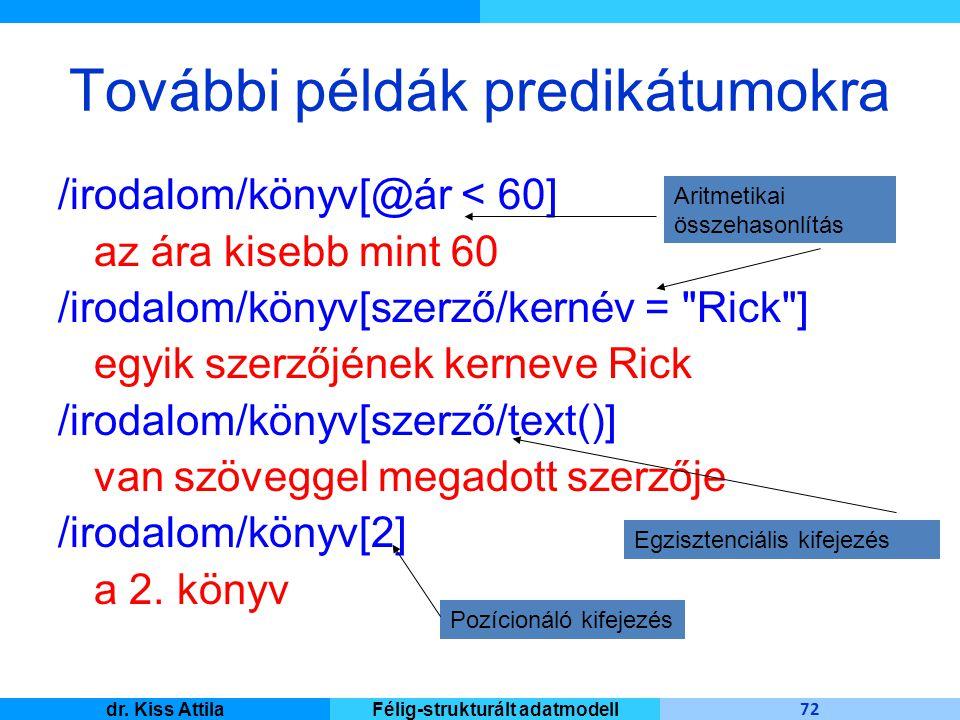 Master Informatique 72 dr. Kiss AttilaFélig-strukturált adatmodell További példák predikátumokra /irodalom/könyv[@ár < 60] az ára kisebb mint 60 /irod