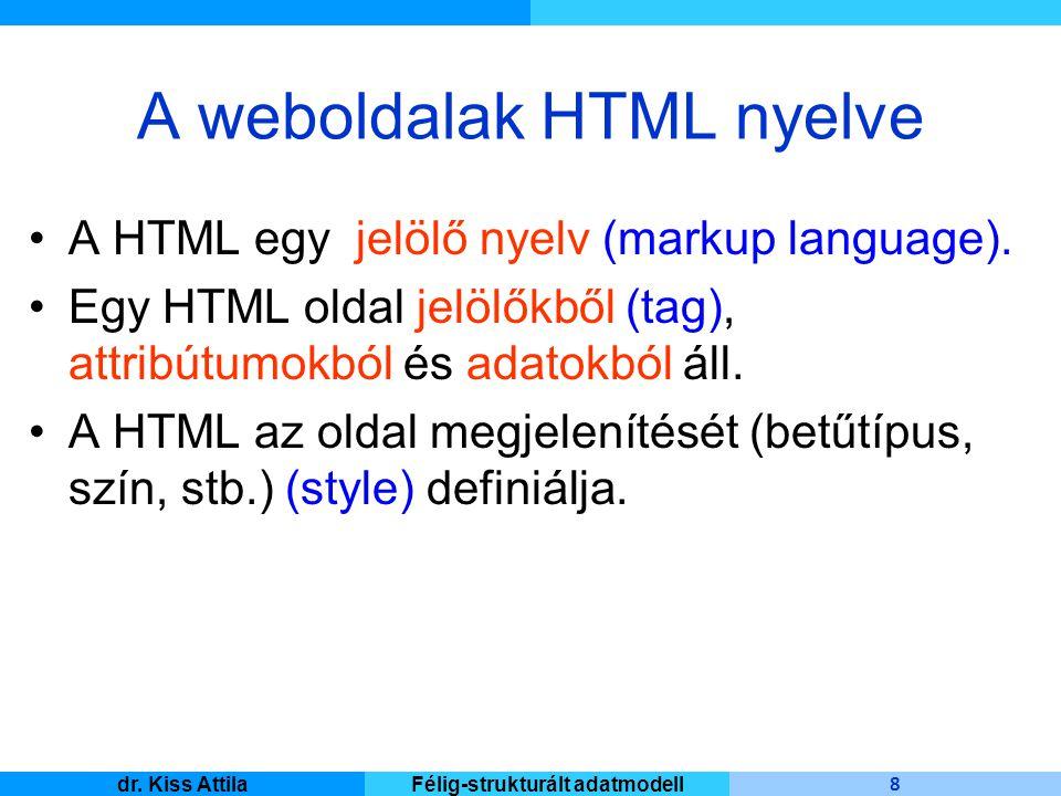 Master Informatique 8 dr. Kiss AttilaFélig-strukturált adatmodell A weboldalak HTML nyelve A HTML egy jelölő nyelv (markup language). Egy HTML oldal j