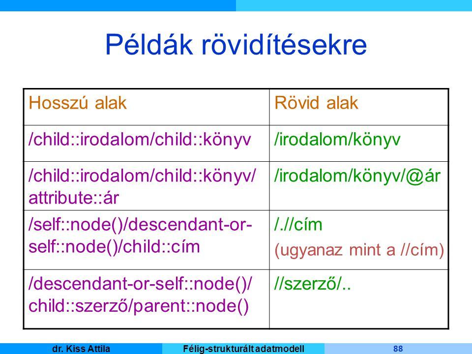 Master Informatique 88 dr. Kiss AttilaFélig-strukturált adatmodell Példák rövidítésekre Rövid alakHosszú alak /irodalom/könyv/child::irodalom/child::k