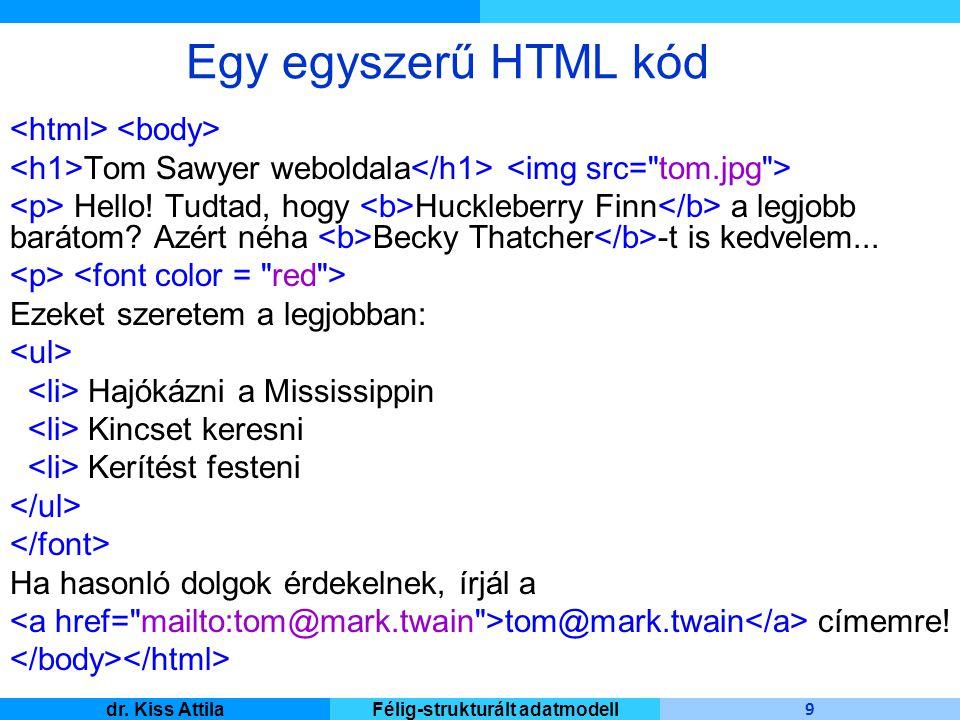 Master Informatique 9 dr. Kiss AttilaFélig-strukturált adatmodell Tom Sawyer weboldala Hello! Tudtad, hogy Huckleberry Finn a legjobb barátom? Azért n