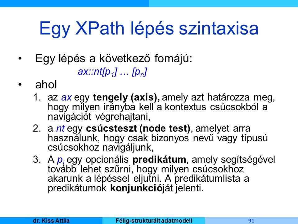 Master Informatique 91 dr. Kiss AttilaFélig-strukturált adatmodell Egy XPath lépés szintaxisa Egy lépés a következő fomájú: ax::nt[p 1 ] … [p n ] ahol
