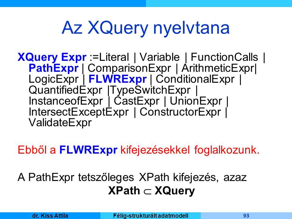 Master Informatique 93 dr. Kiss AttilaFélig-strukturált adatmodell Az XQuery nyelvtana XQuery Expr :=Literal | Variable | FunctionCalls | PathExpr | C