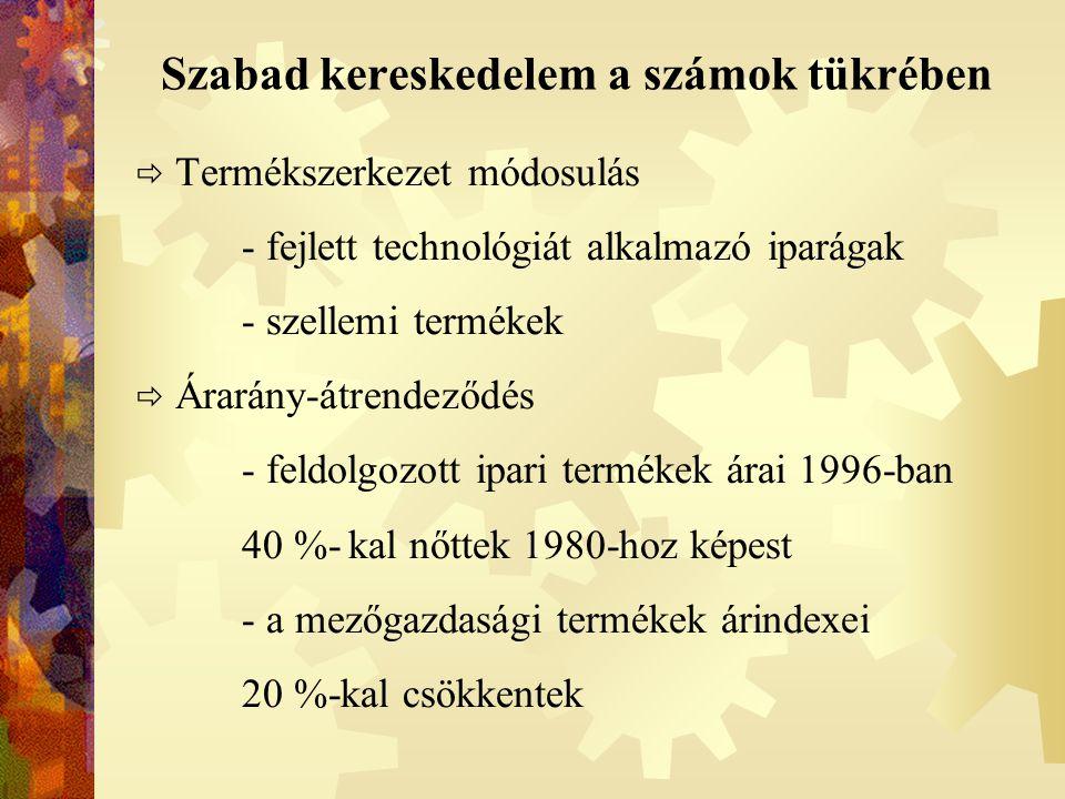 Szabad kereskedelem a számok tükrében  Termékszerkezet módosulás - fejlett technológiát alkalmazó iparágak - szellemi termékek  Árarány-átrendeződés