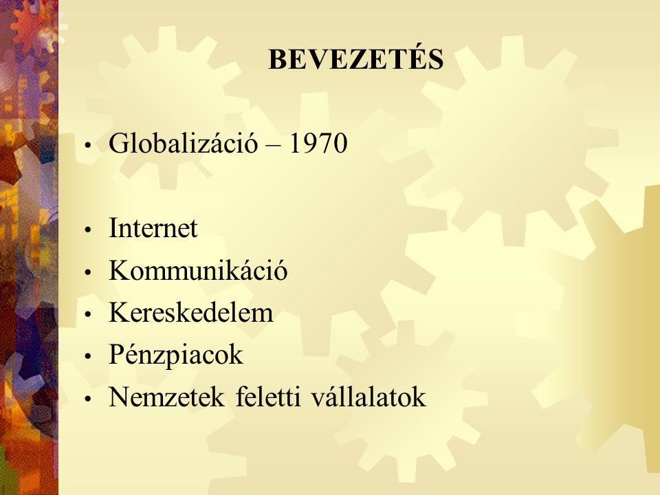 Globalizáció – 1970 Internet Kommunikáció Kereskedelem Pénzpiacok Nemzetek feletti vállalatok BEVEZETÉS