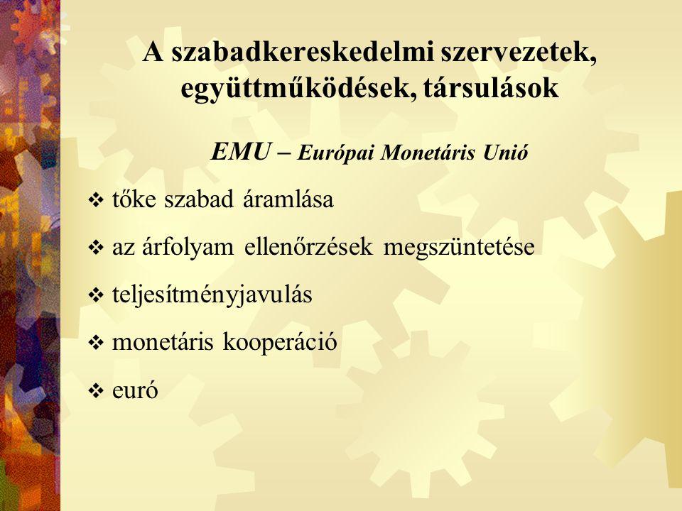 A szabadkereskedelmi szervezetek, együttműködések, társulások EMU – Európai Monetáris Unió  tőke szabad áramlása  az árfolyam ellenőrzések megszünte