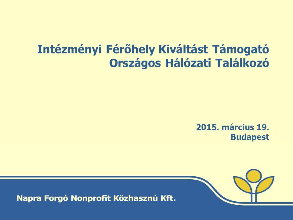 Intézményi Férőhely Kiváltást Támogató Országos Hálózati Találkozó 2015. március 19. Budapest