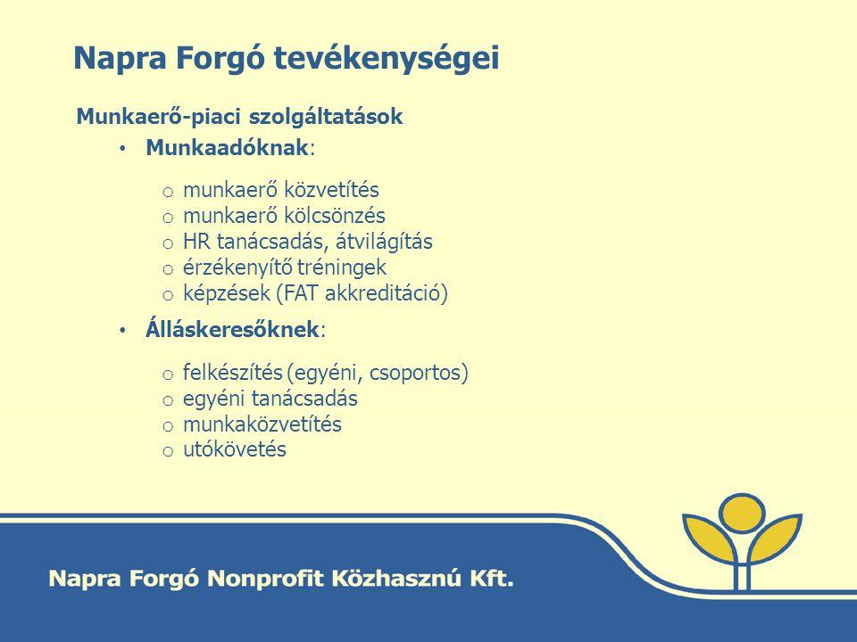 Napra Forgó tevékenységei Munkaerő-piaci szolgáltatások Munkaadóknak: o munkaerő közvetítés o munkaerő kölcsönzés o HR tanácsadás, átvilágítás o érzék