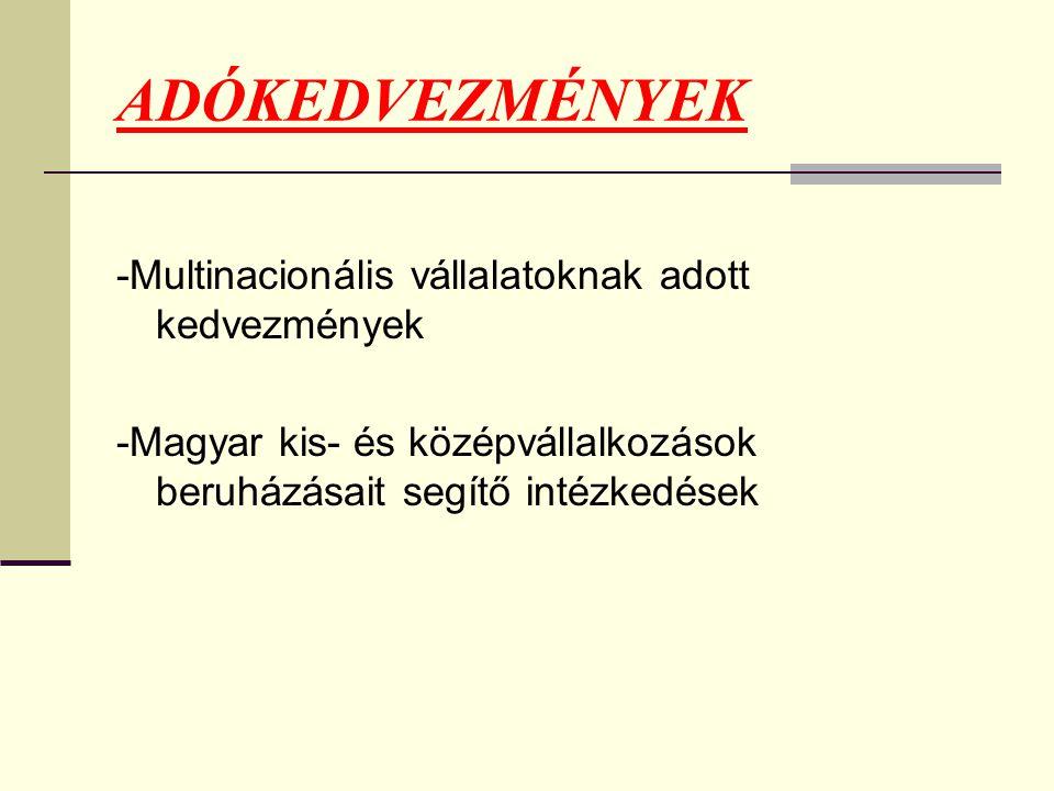 ADÓKEDVEZMÉNYEK -Multinacionális vállalatoknak adott kedvezmények -Magyar kis- és középvállalkozások beruházásait segítő intézkedések