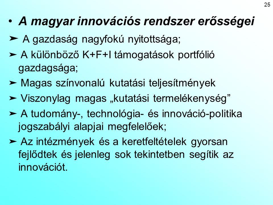 A magyar innovációs rendszer erősségei ➤ A gazdaság nagyfokú nyitottsága; ➤ A különböző K+F+I támogatások portfólió gazdagsága; ➤ Magas színvonalú kut