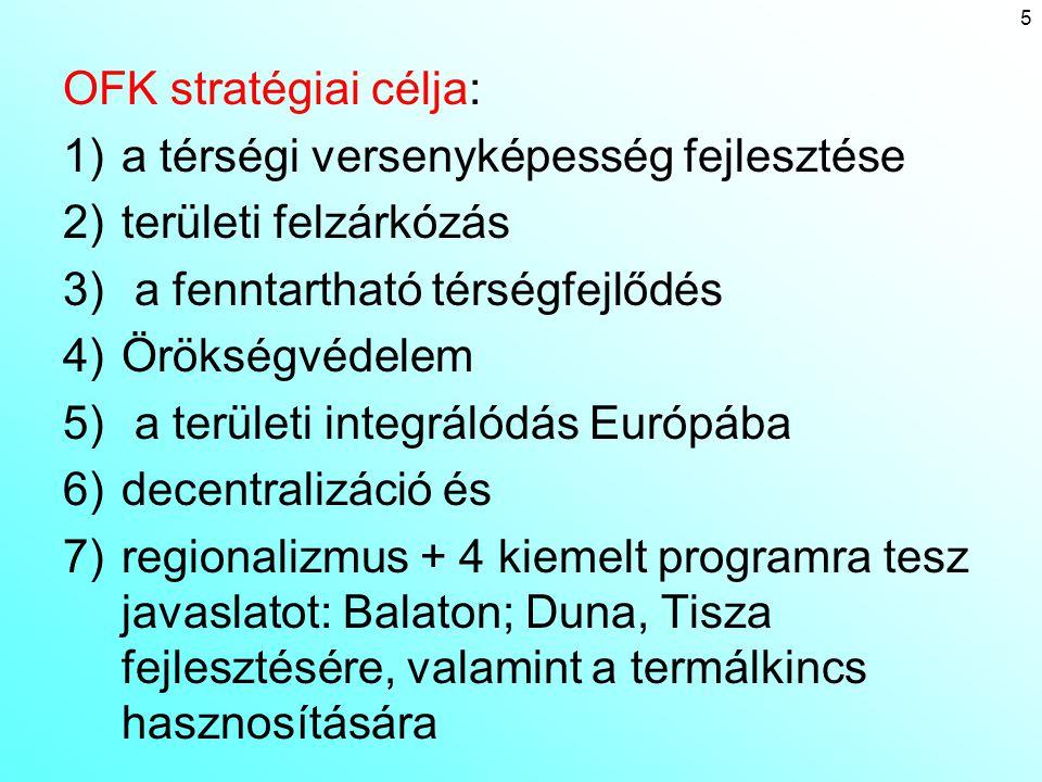 OFK stratégiai célja: 1)a térségi versenyképesség fejlesztése 2)területi felzárkózás 3) a fenntartható térségfejlődés 4)Örökségvédelem 5) a területi i