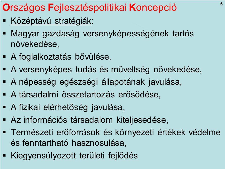 Országos Fejlesztéspolitikai Koncepció  Középtávú stratégiák:  Magyar gazdaság versenyképességének tartós növekedése,  A foglalkoztatás bővülése, 