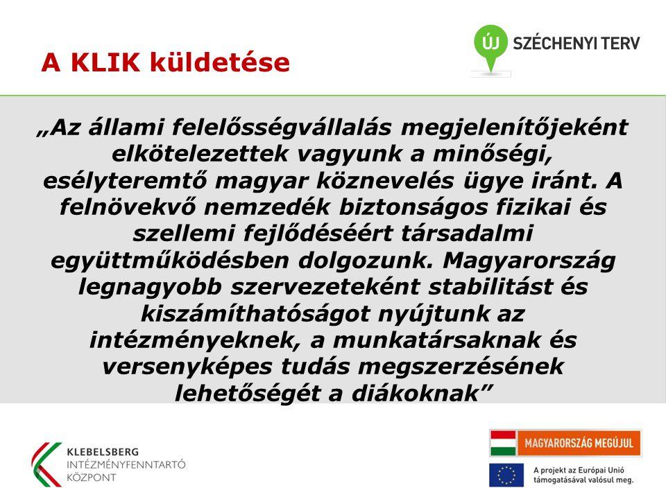 """A KLIK küldetése """"Az állami felelősségvállalás megjelenítőjeként elkötelezettek vagyunk a minőségi, esélyteremtő magyar köznevelés ügye iránt."""