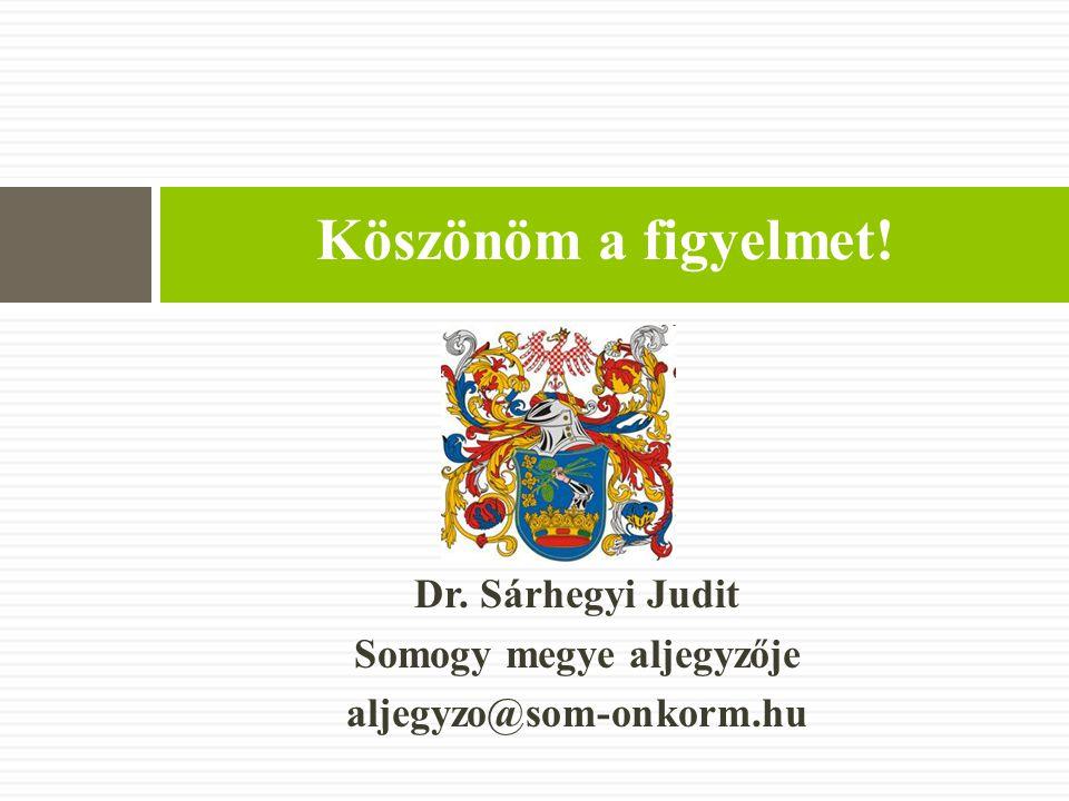 Dr. Sárhegyi Judit Somogy megye aljegyzője aljegyzo@som-onkorm.hu Köszönöm a figyelmet!