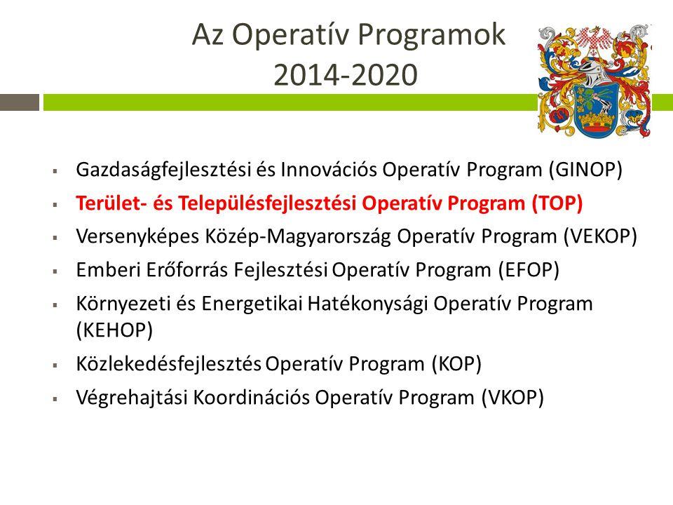 Az Operatív Programok 2014-2020  Gazdaságfejlesztési és Innovációs Operatív Program (GINOP)  Terület- és Településfejlesztési Operatív Program (TOP)  Versenyképes Közép-Magyarország Operatív Program (VEKOP)  Emberi Erőforrás Fejlesztési Operatív Program (EFOP)  Környezeti és Energetikai Hatékonysági Operatív Program (KEHOP)  Közlekedésfejlesztés Operatív Program (KOP)  Végrehajtási Koordinációs Operatív Program (VKOP)