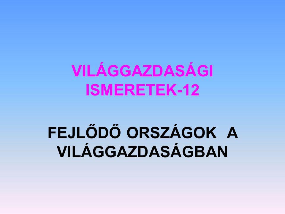 VILÁGGAZDASÁGI ISMERETEK-12 FEJLŐDŐ ORSZÁGOK A VILÁGGAZDASÁGBAN