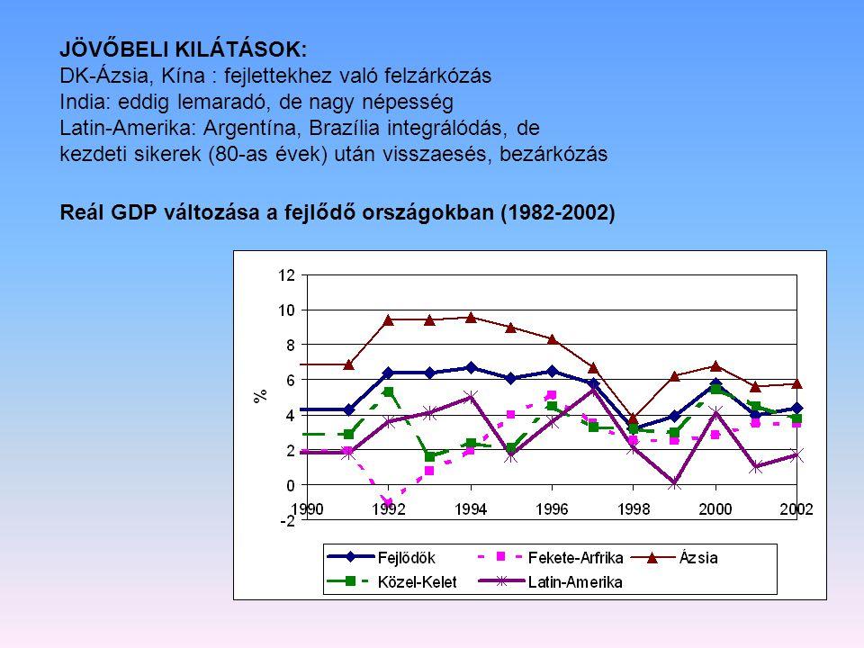 JÖVŐBELI KILÁTÁSOK: DK-Ázsia, Kína : fejlettekhez való felzárkózás India: eddig lemaradó, de nagy népesség Latin-Amerika: Argentína, Brazília integrál