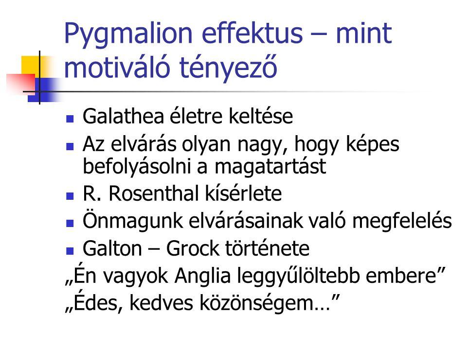 Pygmalion effektus – mint motiváló tényező Galathea életre keltése Az elvárás olyan nagy, hogy képes befolyásolni a magatartást R. Rosenthal kísérlete