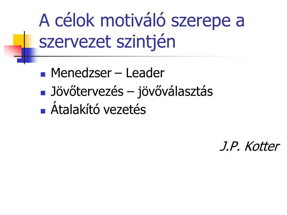 A célok motiváló szerepe a szervezet szintjén Menedzser – Leader Jövőtervezés – jövőválasztás Átalakító vezetés J.P. Kotter