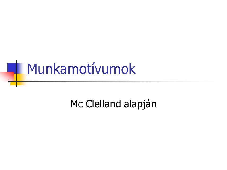 Munkamotívumok Mc Clelland alapján