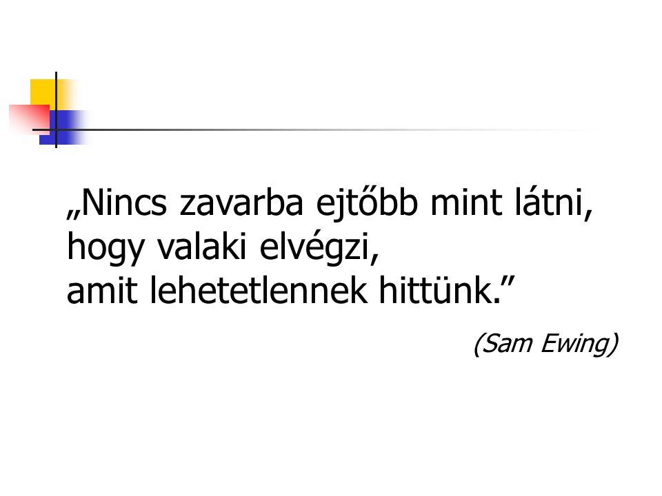 """""""Nincs zavarba ejtőbb mint látni, hogy valaki elvégzi, amit lehetetlennek hittünk."""" (Sam Ewing)"""