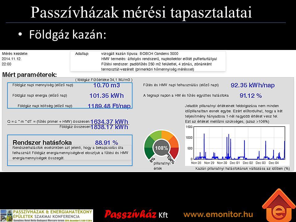Passzívház Kft www.emonitor.hu Passzívházak mérési tapasztalatai Földgáz kazán: