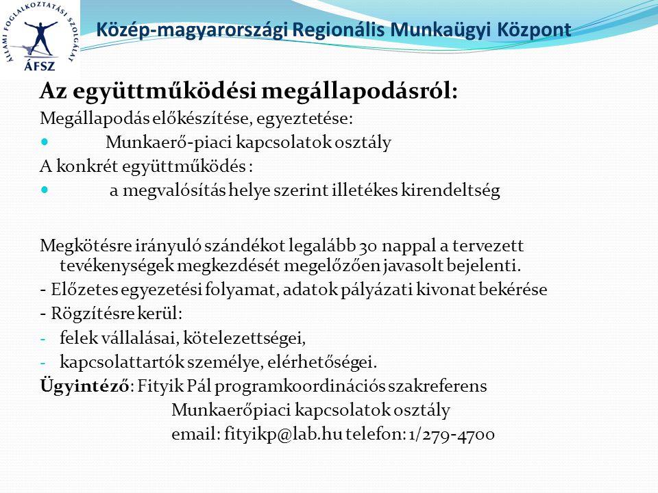 Közép-magyarországi Regionális Munkaügyi Központ Az együttműködési megállapodásról: Megállapodás előkészítése, egyeztetése: Munkaerő-piaci kapcsolatok osztály A konkrét együttműködés : a megvalósítás helye szerint illetékes kirendeltség Megkötésre irányuló szándékot legalább 30 nappal a tervezett tevékenységek megkezdését megelőzően javasolt bejelenti.