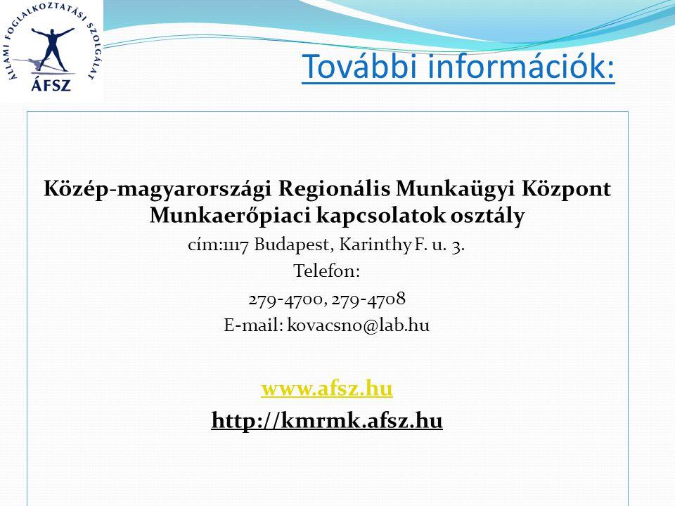 További információk: Közép-magyarországi Regionális Munkaügyi Központ Munkaerőpiaci kapcsolatok osztály cím:1117 Budapest, Karinthy F. u. 3. Telefon: