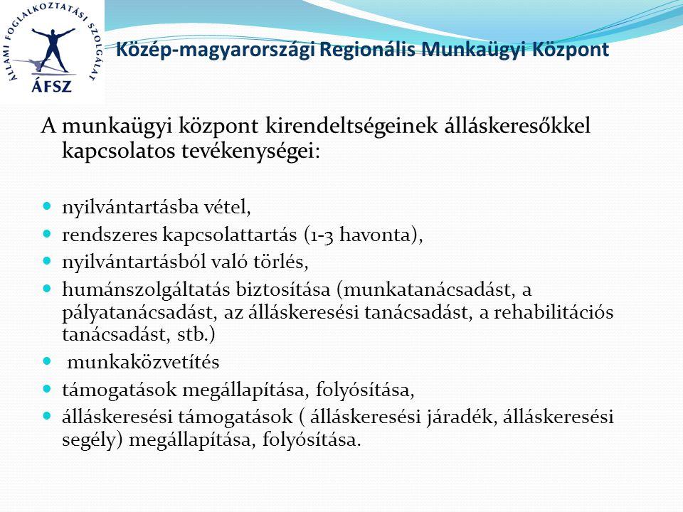 Közép-magyarországi Regionális Munkaügyi Központ A munkaügyi központ kirendeltségeinek álláskeresőkkel kapcsolatos tevékenységei: nyilvántartásba vétel, rendszeres kapcsolattartás (1-3 havonta), nyilvántartásból való törlés, humánszolgáltatás biztosítása (munkatanácsadást, a pályatanácsadást, az álláskeresési tanácsadást, a rehabilitációs tanácsadást, stb.) munkaközvetítés támogatások megállapítása, folyósítása, álláskeresési támogatások ( álláskeresési járadék, álláskeresési segély) megállapítása, folyósítása.