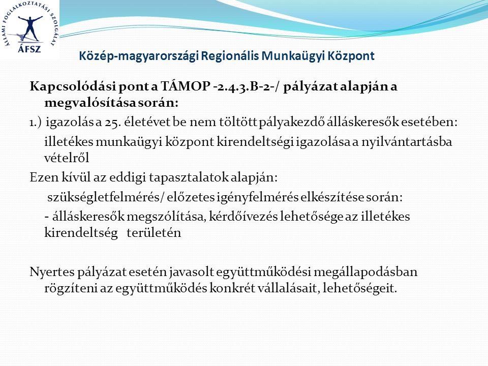 Közép-magyarországi Regionális Munkaügyi Központ Kapcsolódási pont a TÁMOP -2.4.3.B-2-/ pályázat alapján a megvalósítása során: 1.) igazolás a 25. éle