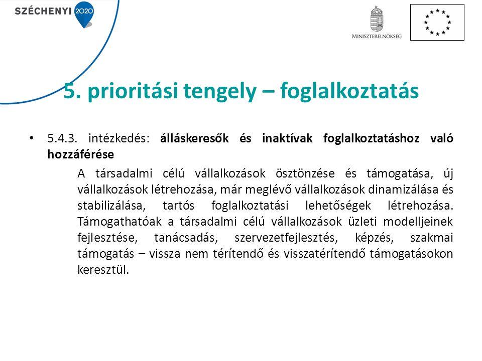 5. prioritási tengely – foglalkoztatás 5.4.3.