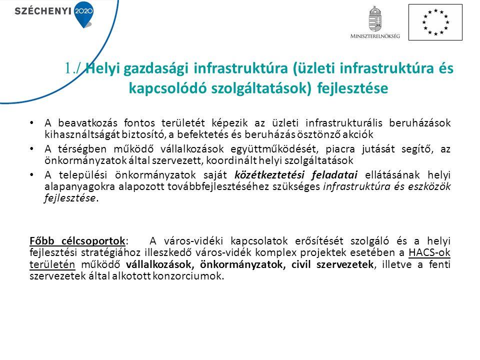 1./ Helyi gazdasági infrastruktúra (üzleti infrastruktúra és kapcsolódó szolgáltatások) fejlesztése A beavatkozás fontos területét képezik az üzleti infrastrukturális beruházások kihasználtságát biztosító, a befektetés és beruházás ösztönző akciók A térségben működő vállalkozások együttműködését, piacra jutását segítő, az önkormányzatok által szervezett, koordinált helyi szolgáltatások A települési önkormányzatok saját közétkeztetési feladatai ellátásának helyi alapanyagokra alapozott továbbfejlesztéséhez szükséges infrastruktúra és eszközök fejlesztése.