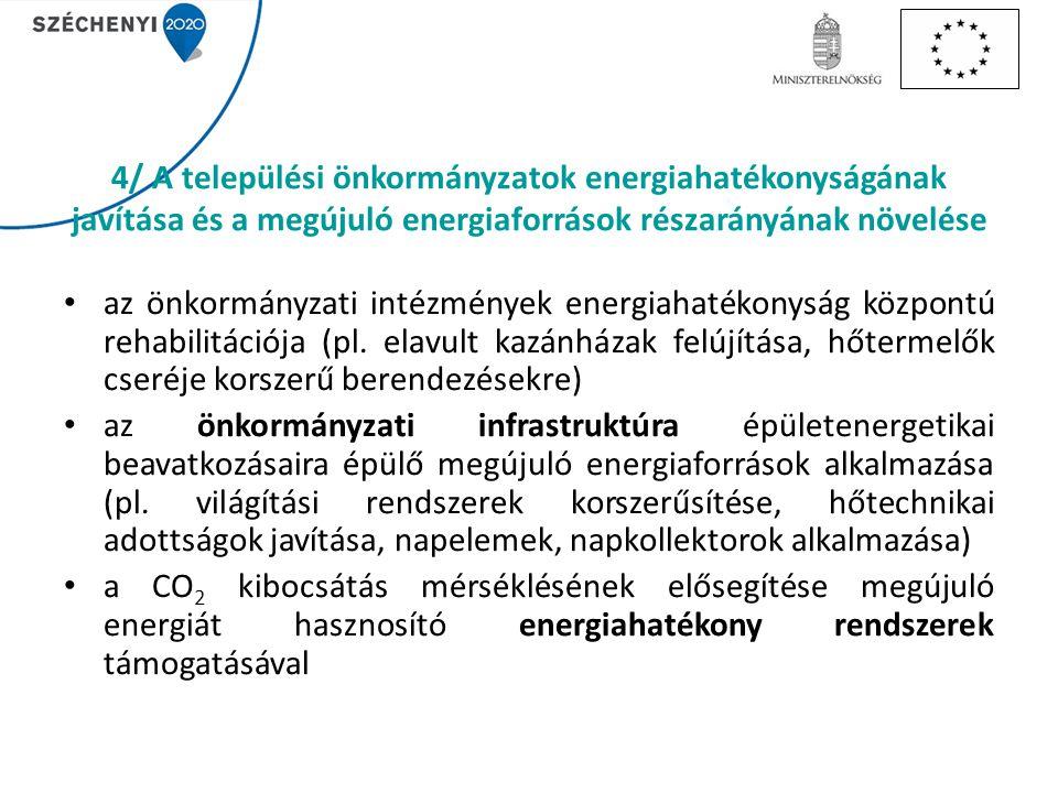 4/ A települési önkormányzatok energiahatékonyságának javítása és a megújuló energiaforrások részarányának növelése az önkormányzati intézmények energiahatékonyság központú rehabilitációja (pl.