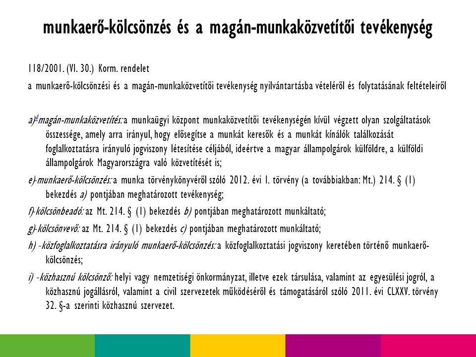 munkaerő-kölcsönzés és a magán-munkaközvetítői tevékenység 118/2001.