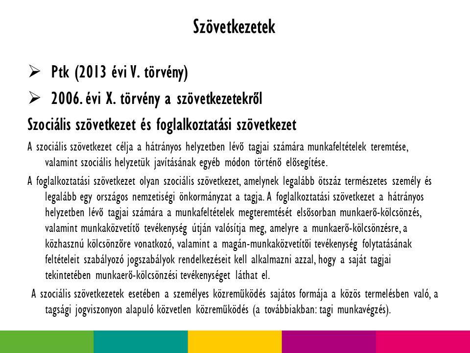Szövetkezetek  Ptk (2013 évi V.törvény)  2006. évi X.